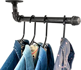 DIY CARTEL Industrial Pipe Wall Mount Clothing & Garment Rack Hardware ONLY - 2 Pack - Perfect for Retail Display, Organizing, Laundry (12-inch Hanging Faceout)