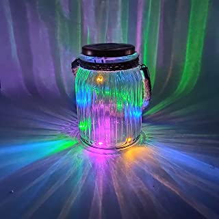 Solar Lantern Jar Lights Outdoor Multi-Color Table Light Glass Ball Lamp Mason Jars Decorations Hanging Tree Lights 4 Color 8 LED Wire Garden Decor Tabletop Lanterns for Gift Party Yard