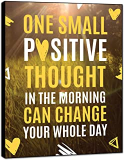 LACOFFIO Inspirational Wall Art Decor One Small Positive Thought 9''x12'' Motivational Wall Art Quotes Wood Sign Perfect for Office Spaces No-Chip No Warp
