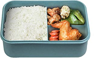 Bento Box For Kids,Bento Lunch Box for Kids, Leakproof Lunch Containers with 3 Compartments Bento box Made by Wheat Fiber Material Microwave Safe, BPA-Free