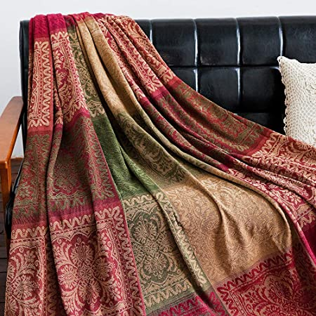 """AIVIA Boho Sofa Couch Throw Blanket Slipcover, Bed Recliner Chair Throws Sofa Cover Colorful Chenille Woven Bohemian Decor - Large Oversized 87"""" x 103"""" Green Wine Red"""
