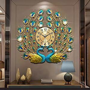 Large Peacock Wall Clock 24 Inch Metal Design Silent Art Clocks Battery Operated Decorative Digital Wall Clocks for Living Room Decor