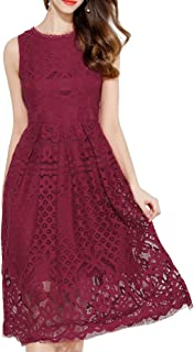 Womens Fashion Sleeveless Lace Fit Flare Elegant Cocktail Party Dress