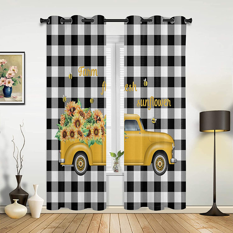 Window Sheer 35% OFF Curtains Dedication for Bedroom Farm Living Room Fresh Sunflow