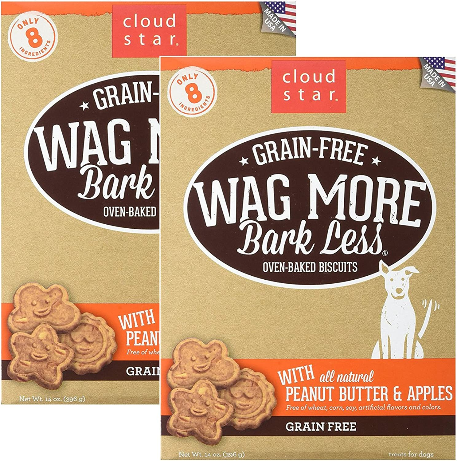 Cloud Star Wag More Oven Baked Grain Free Biscuits  28 Ounce Peanut Butter, Apples