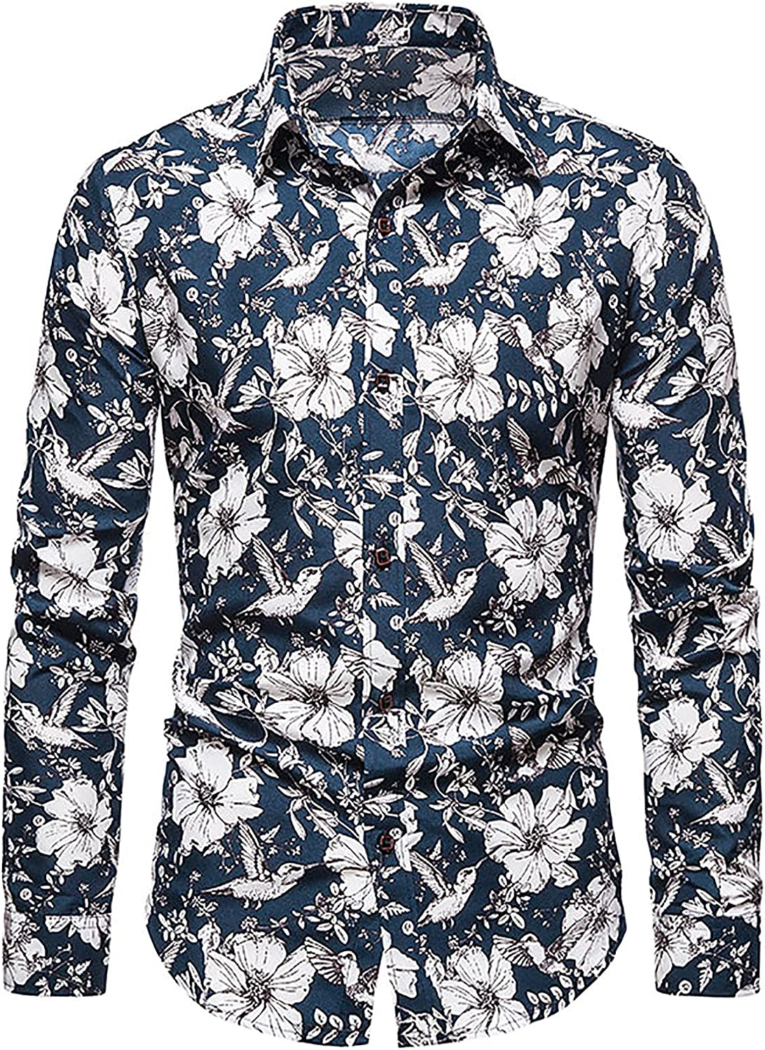 Men's Fashion Floral Print Shirts Cotton Turn Down Collar Button Long Sleeve Shirt Slim Fit Casual Tops Blouse