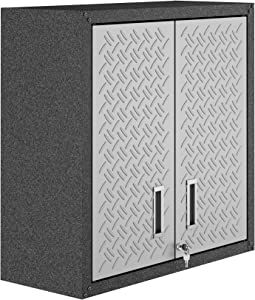 Manhattan Comfort Fortress Collection Modern Designed Floating Storage Garage Cabinet Great For Tools and Supplies, Stainless Steel