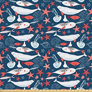 Ambesonne Narwhal Fabric by The Yard, Arctic Ocean Fauna with School of Fish Narwhal and Jellyfish Sketch, Stretch Knit Fabric for Clothing Sewing and Arts Crafts, 2 Yards, Royal Blue Baby Blue