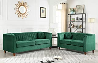 Container Furniture Direct Arminta Sofa and Loveseat Living Room Set, Green