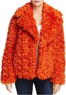 KENDALL + KYLIE Womens Winter Warm Faux Fur Coat Orange S
