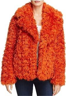KENDALL + KYLIE 女士短款人造毛皮外套橙色 S 码