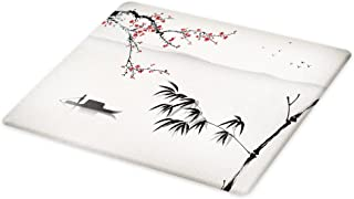 Lunarable Nature Cutting Board, Chinese Waterscape Painting Artwork Print with Bamboo Sakura Trees Birds Boat River, Decorative Tempered Glass Cutting and Serving Board, Large Size, Black Grey