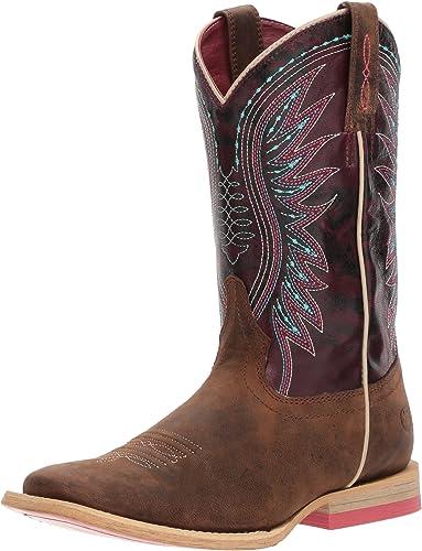 Ariat - Chaussures Unis Western-Enfant Vaquera Western Western, 25 M M EU, Weatherouge marron Sunset violet
