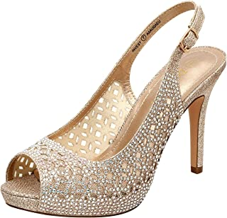 Women's High Heels Platform Dress Rhinestones Peep Toe...
