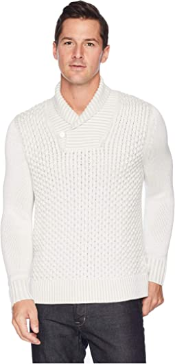 Plaited Texture Shawl Neck Sweater