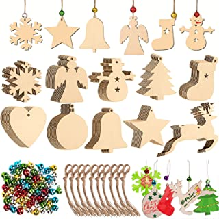 MUOIVG 100 Piezas 10 Estilos Colgantes de Madera para Navidad, Ornamentos de Navidad,Adornos de Navidad Madera, Colgantes ...