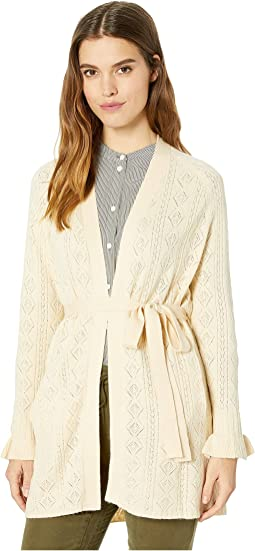 Ruffle Sleeve Open Knit Cardigan