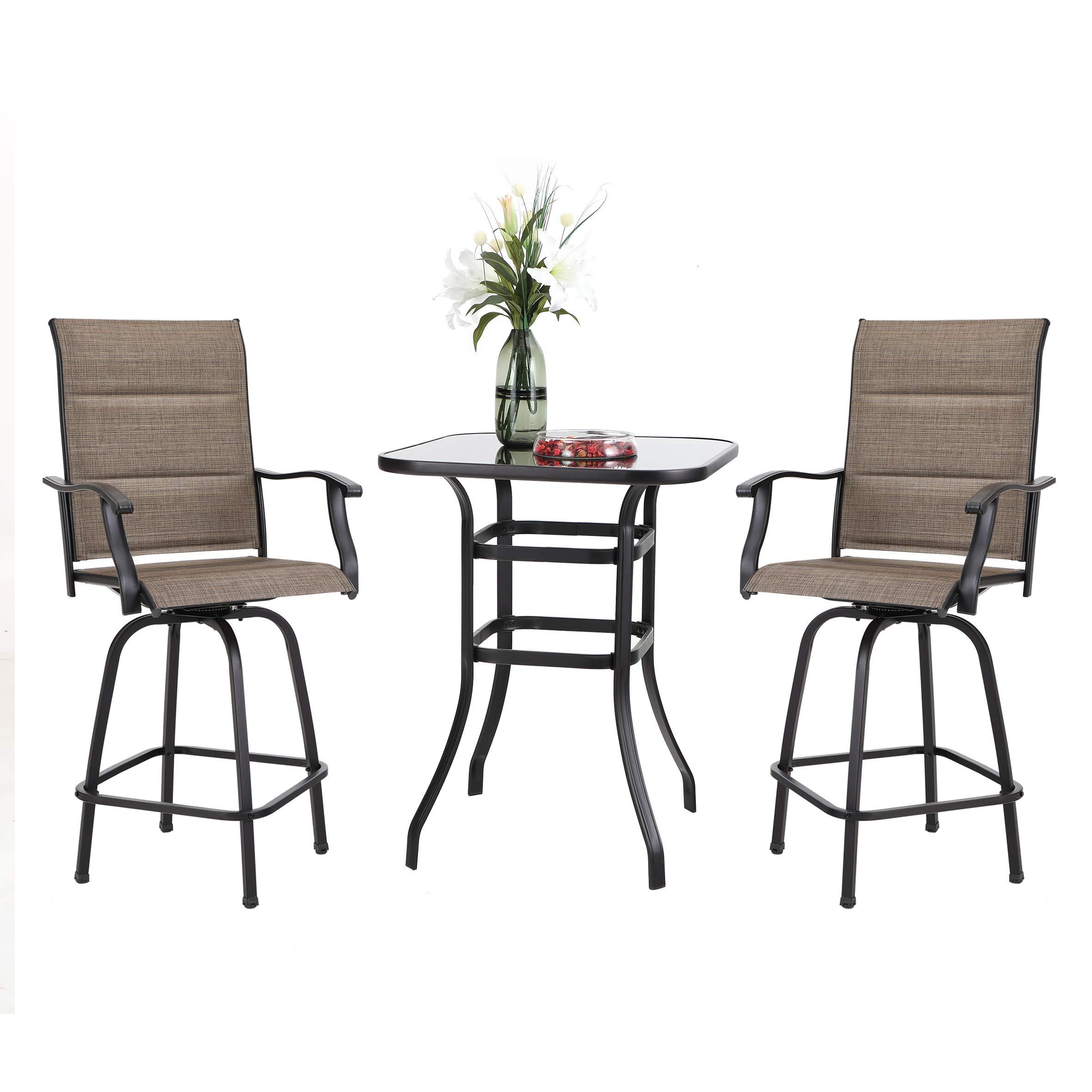 PHI VILLA 3 PCS Patio Swivel Bar Set Outdoor Furniture Bar Height Bistro Set 2 Bar Stools and 1 Table