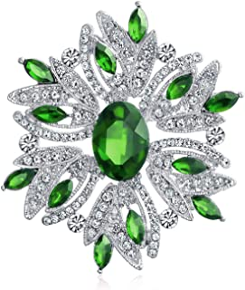 Large Statement Vintage Style Crystal Flower Green White Brooch Pin for Women for Mother Silver Plated