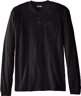 Key Apparel Men's Big Big & Tall Heavyweight 3-Button Long Sleeve Henley Pocket T-Shirt, Black, 2X-Large/Tall