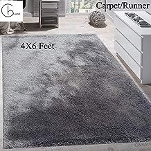 Cambik Super Soft Indoor Bedroom Carpet Runner Dust Absorbent Rubber Backing Anti Slippery Backing Room Bedroom Entrance Living Room Rug Mat Carpet Grey Color (4X6 Feet)