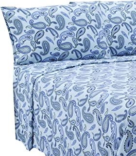 Marrikas Flannel Sheet Set Queen Blue Paisley