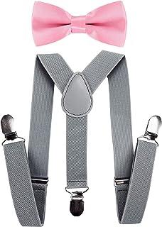 axy Bretelle per bambini a Y con papillon, 3 clip, massima tenuta, colore: grigio chiaro