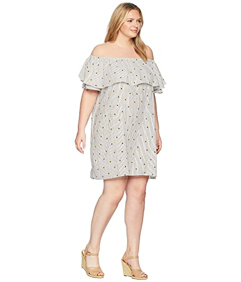 KARI LYN Plus Size Pineapple Print Off the Shoulder Dress Ivory/Yellow Visit Sale Online Free Shipping Latest Collections ttk9TMgM