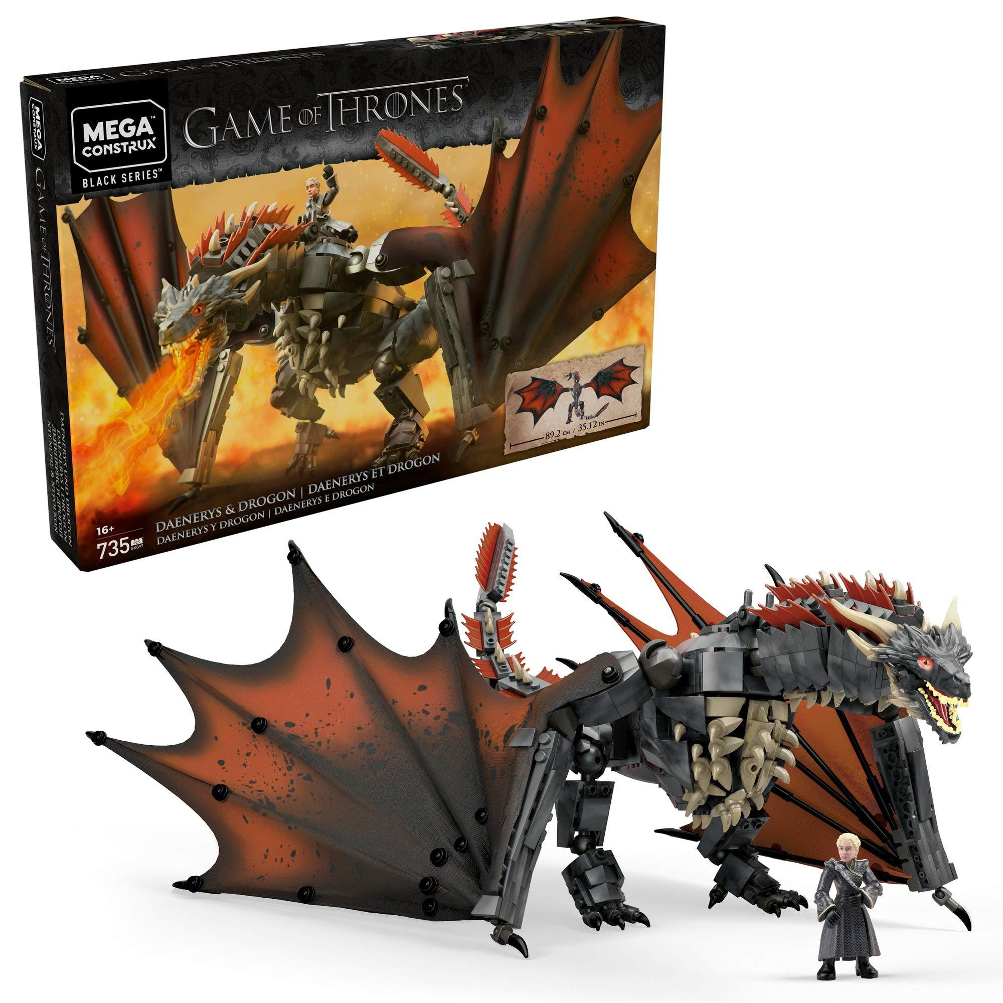 Amazon Com Mega Construx Game Of Thrones Daenerys Drogon Toys Games