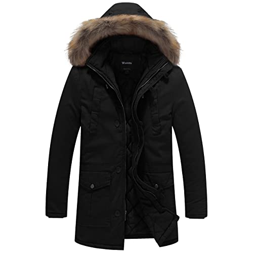 2f932435174 Men's Parka Fur Hood Black: Amazon.com