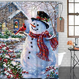 Crystal Emotion Happy Snowman Shower Curtain Cardinals Winter Holiday Merry Christmas Waterproof Bathroom Fabric with 12 Hooks 66x72inch
