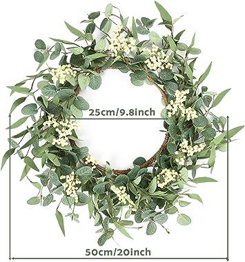 Artificial Eucalyptus Wreath 20inch Spring Summer Large Green Leaf Wreath for Festival Celebration Front Door Wall Window Par