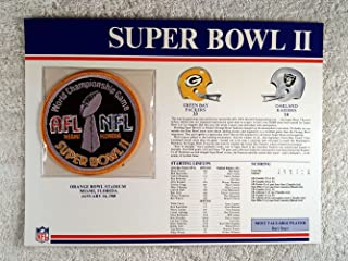 Super Bowl II (1968) - Official NFL Super Bowl Patch with complete Statistics Card - Green Bay Packers vs Oakland Raiders - Bart Starr MVP