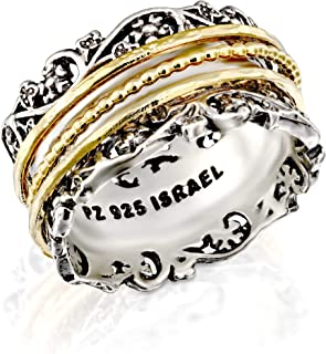 PZ Paz Creations YG .925 Sterling Silver Ring with Gold Over Silver Spinners