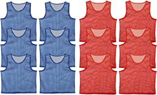 Get Out! Scrimmage Vest Pinnies 12pk in Red and Blue – Youth, Teens and Adult Sizes – Nylon Mesh Jerseys for Any Sport