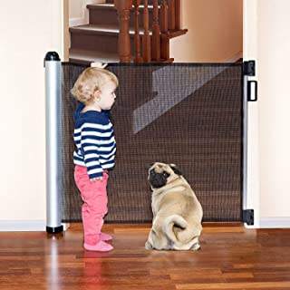 Retractable Baby Gate, Extra Wide Baby Safety Mesh Gate and Pet Gate for Stairs/Door/Stairway/Outdoor/Indoor, Easy Latch and Flexible Design Mesh Baby Gate for Most Spaces