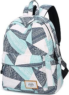 Water Resistant School Backpack for Teens, Cute Geometry Laptop Bag Girls Bookbag Travel Rucksack Casual Daypack Handbag (Water Blue)