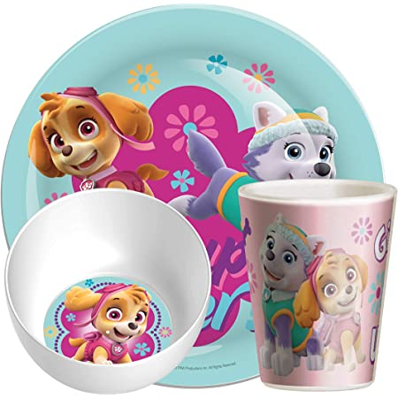 Bowl Tumbler Spoon and Fork Dinnerware Set for Children Official Paw Patrol Skye Everest Characters 5 Piece Coloured BPA Free Melamine Dining Set Plate