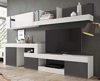Miroytengo Mueble Modular salón diseño Moderno Comedor Color Blanco Nordic (con veta) y Pizarra 295x164x40 cm