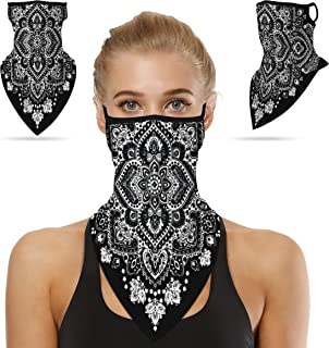 Sunew Unisex Face Scarf Bandana Ear Loops Face Rave Balaclava Men Women Neck Gaiters for Dust Wind Sun UV Motorcycle Mask