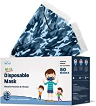 WeCare Kids Disposable Face Masks, 50 Blue Camo Masks, Individually Wrapped