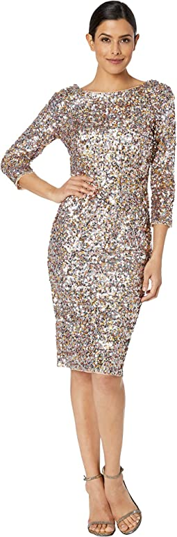 Short Sequin Cocktail Dress w/ 3/4 Sleeve