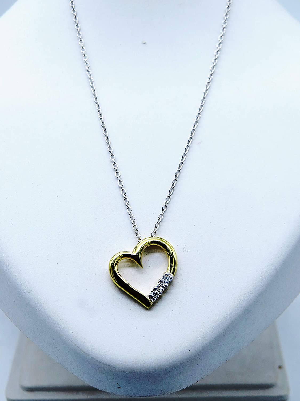 10K Gold 3 Stone White Diamond Heart Pendant ctw Silver Chain Included 0.15 Carat