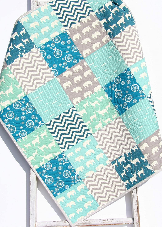 Organic Baby Finally Tucson Mall resale start Boy Quilt Buck Blanket Crib Bedding Deer Woodlan