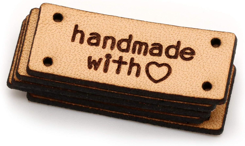 Etiquette exclusive en cuir italien v/éritable grav/é Fait /à la main en cuir /étiquettes HMIhand made with love 15 pi/èces - Texte Personnalis/é