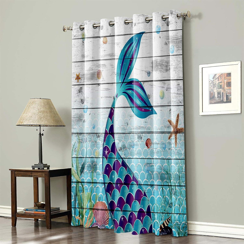 Blackout Curtain for 《週末限定タイムセール》 Bedroom Ocean Mermaid セール商品 Shell Woode Starfish