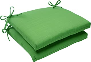 Pillow Perfect Indoor/Outdoor Forsyth Squared Seat Cushion, Green, Set of 2