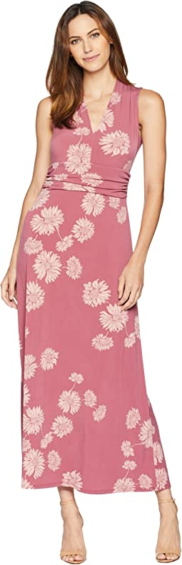 Sleeveless Chateau Floral Halter Maxi Dress