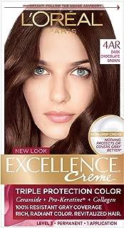 L'OrÃal Paris Excellence CrÃme Permanent Hair Color, 4AR Dark Chocolate Brown, 1 Count kit 100% Gray Coverage Hair Dye