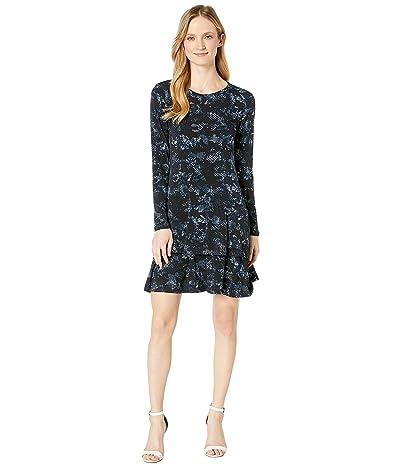 MICHAEL Michael Kors Cobra Crew Neck Flounce Dress (True Navy/Chambray) Women